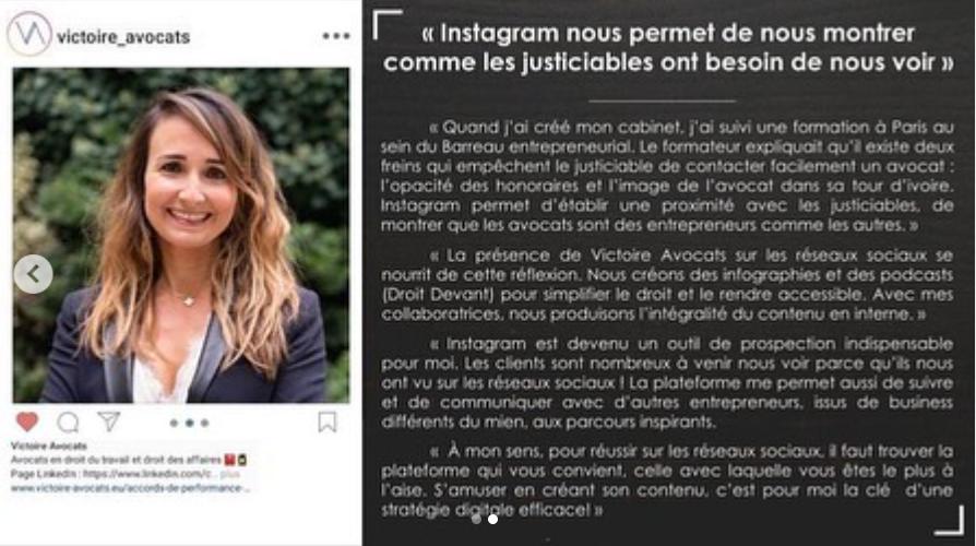 Utilisation d'instagram par les avocats